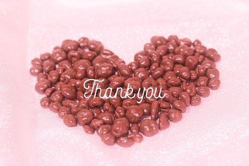 「お礼」「お菓子」「チョコレート」「ハート」「ピンク加工」「文字入り」「食べ物」などがテーマのフリー写真画像