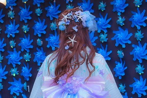 フリー写真素材:[BACK]浴衣のおしゃれなヘアスタイル『紫陽花マーメイド』