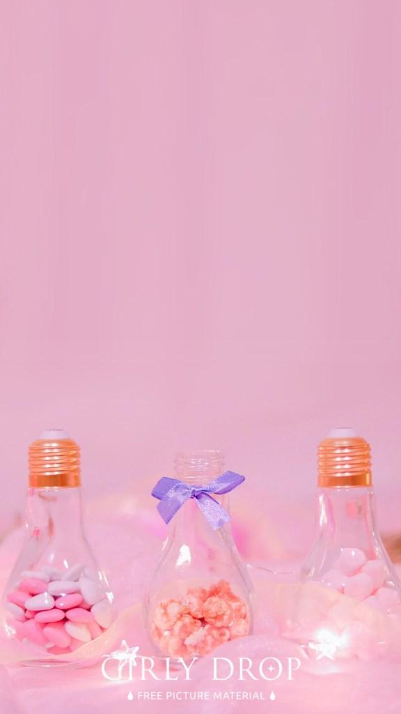 おしゃれなフリーのスマホ壁紙(待受け):【おしゃれなiPhone壁紙】今年のバレンタインは電球ボトルでガーリーに装飾♡