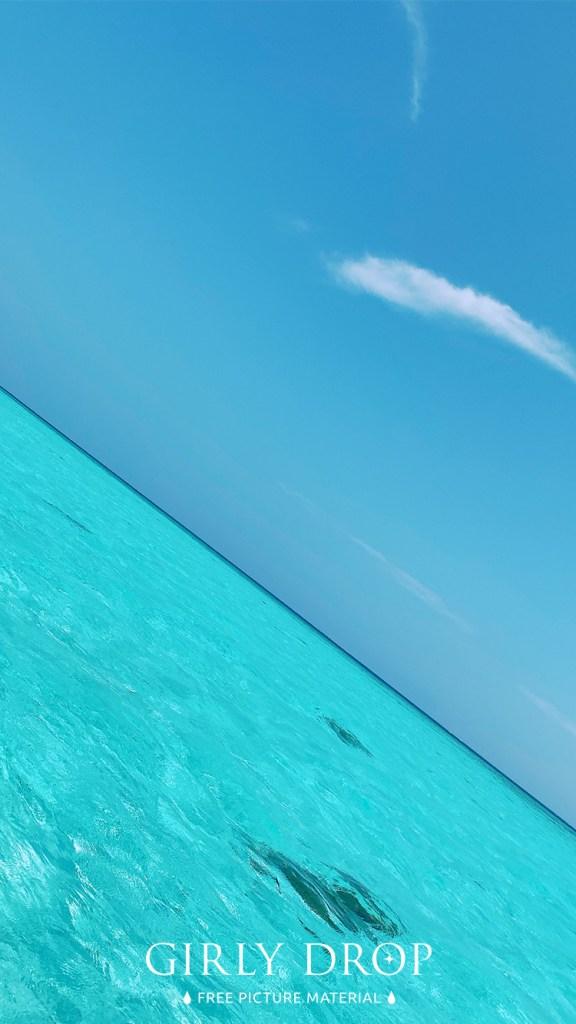 おしゃれなフリーのスマホ壁紙(待受け):【おしゃれなiPhone壁紙】宮古島、八重干瀬(やびじ)のゼリーみたいな海と空