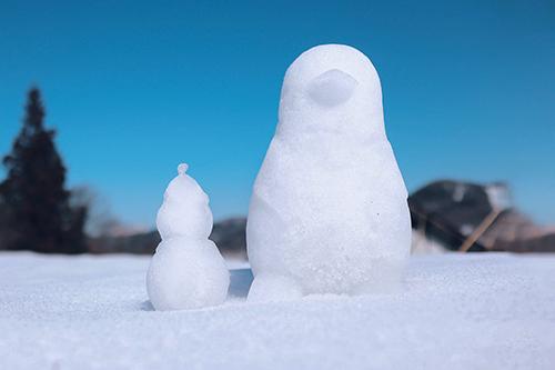 フリー写真素材:仲良く並んだペンギンとスノーマン