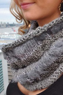 """Chic Cowl"" Cabled Cowl Neck Scarf"