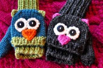 """Smitten Mittens"" Fingerless Owl and Cat Animal Mittens"