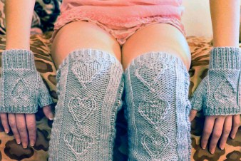 """Heart Warmers"" Cable Knit Legwarmers and Gloves Set"