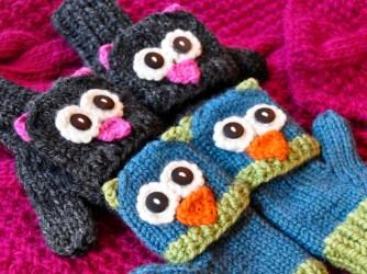 """Smitten Mittens"" Fingerless Owl and Cat Animal Mittens"