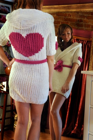 """Cuddle Bunny"" Hooded Robe with Heart"