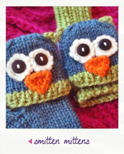 smitten mittens fingerless animal gloves owl knitting pattern