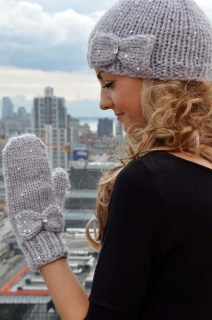 """""""Snow Princess"""" Girls and Adult Sequin Hat and Mitten Set with Bow Detail and iPhone Compatibility"""