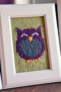 """Owl Friends"" Knitted Wall Art"