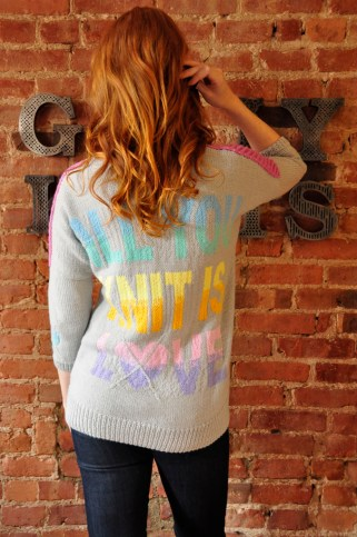 """All You Knit Is Love"" Heart-Gyle Sweater"