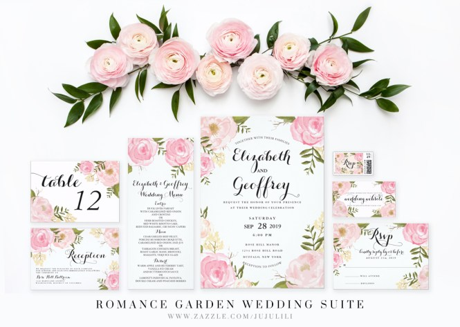 Vintage Watercolor Flowers Wedding Invitations