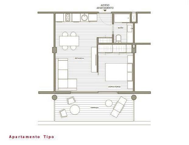 Planta tipo apartamento