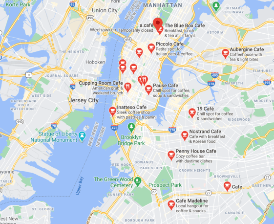 "Notice that the map labels are different sizes for this ""café"" search on google. Off screen, lower ranked café's are different colours. Place names are also bolded and capitalized differently according to local importance."