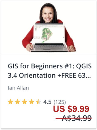 Click this link to enrol in this popular QGIS tutorial on Udemy. Getting started in QGIS 3