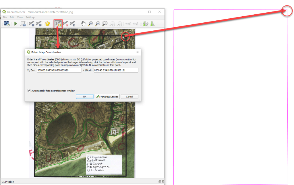 Georeferencing in qgis step 6a: Finding ground control points for the qgis georeferencer.