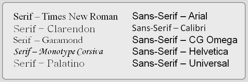 Hình 6.18: Các phông serif và san-serif.