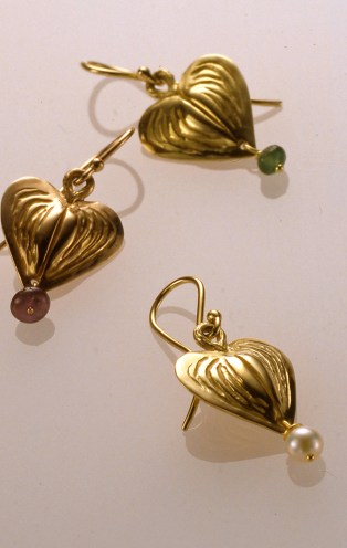 Bleeding Heart Drops, 18k Green, Rose & Yellow