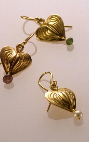 Bleeding Heart Drops, 18k Green, Rose & Yellow