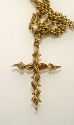 Leaf Cross, 18k Rose Gold