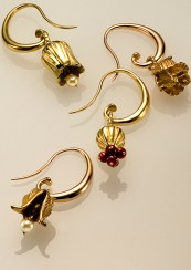 van Gogh Ear Hoops with Pendants, 18k