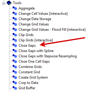Close Gaps Tool SAGA GIS