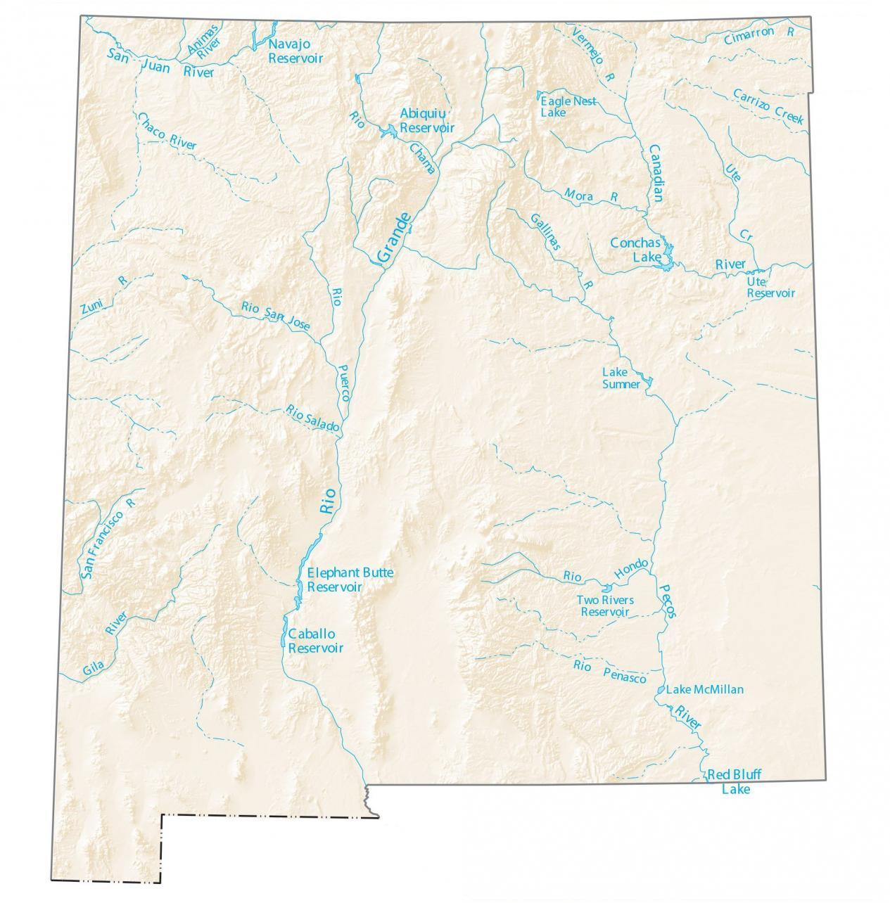 New Mexico Lakes And Rivers Map