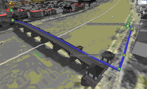 3D-Routing with height profile & animation – routes also over bridges