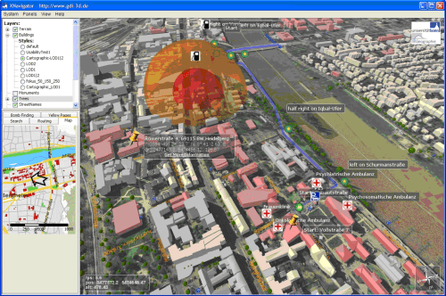 Screenshot of the W3DS-Client (XNavigator) showing styled buildings according the usage, hospitals and gas stations coming from a directory service, an area that should be avoided by the task forces (red bubble), a calculated route around the avoid area provided by a 3D Emergency Route Service, the result a geo-coder query for an address, and a WMS map