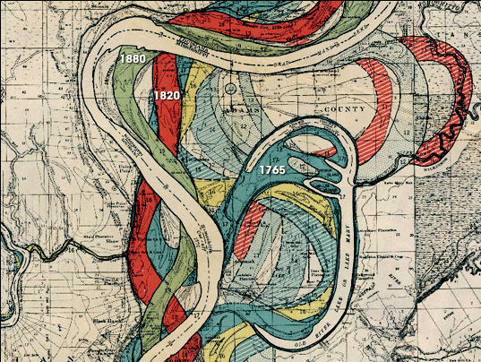 Zoomed in view of Ancient Course of the Mississippi Meander Belt, US Army Corps of Engineers, 1944.