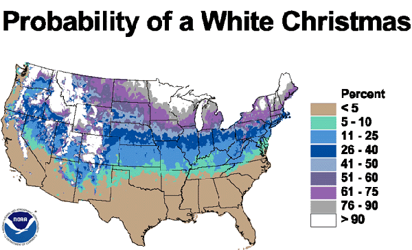 Map showing probabilities of a white Christmas. Source: NOAA, 2001.
