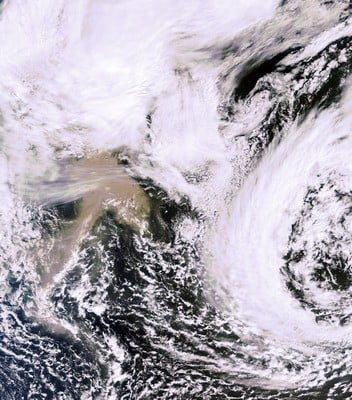 The ash cloud north of Scotland as observed by the MERIS instrument on ESA's Envisat satellite.   Credits: ESA