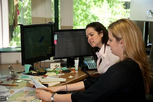 Denise Lellan works with Kristina Jacob on a mapping project for the City of Santa Clarita.