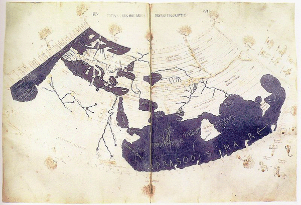 Ptolemy's 150 CE World Map (redrawn in the 15th century). From the British Library Harley MS 7182, ff 58v-59.