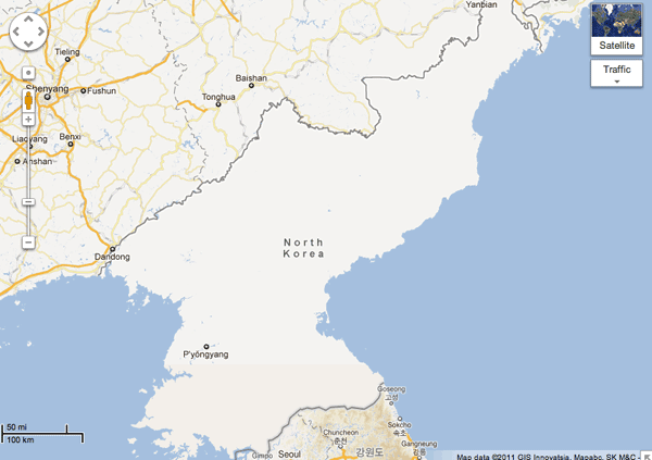 Extent of GIS data for North Korea from Google Maps.