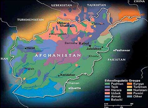 """Map showing ethnolinguistics groups in Afghanistan.  Source: <a href=""""http://usacac.army.mil/cac2/call/docs/10-64/ch_4.asp"""">United States Army Combined Arms Center</a>."""