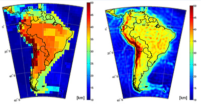 Comparison between an old global Moho model (left) based on seismic/gravity data and Moho-mapping based on GOCE data (right) in South America.   Credits: GEMMA project
