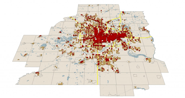 Using GIS to identify locations in the Twin Cities metro that are eligible for LEED ND based on the land use characteristics.  Source: Net Density.