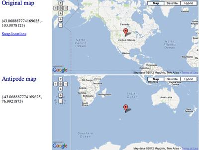 Antipode map