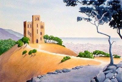 Watercolor of  Castillo de Torre Baro, Barcelona, Spain by Al Woodford.