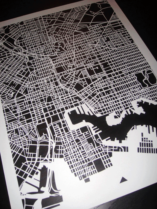 Map cut of Baltimore by Karen O'Leary