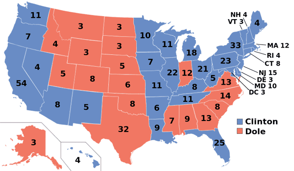 1996 presidential election map.