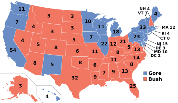 2000 presidential election map.