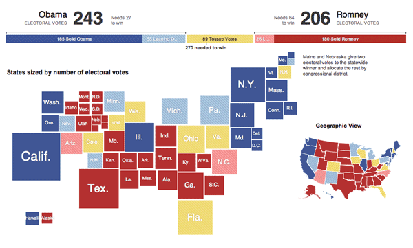 2012 electoral map by the NY Times