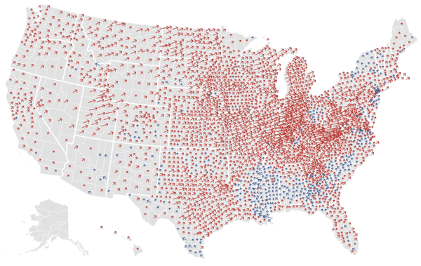 Change in share of votes between the Democratic and Republican candidates from 2008 to 2012.