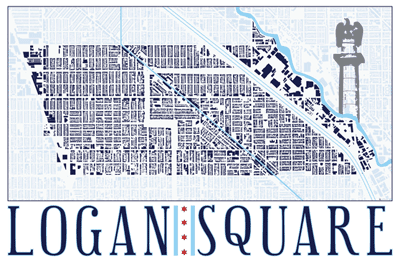 Building footprint map of Logan Square in Chicago.
