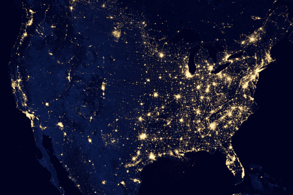 A closer look at the United States at Night.  Source: NASA