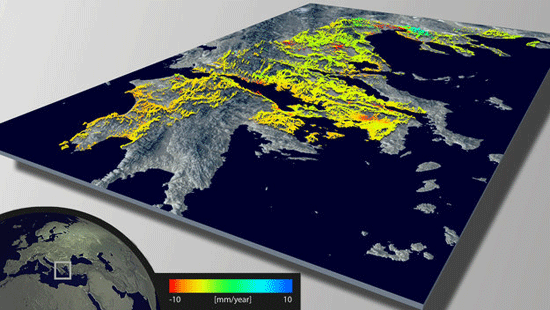 Example of wide-area mapping of terrain deformations over mainland Greece. This GPS-calibrated deformation map covers 65000 sq km – approximately half of the country's territory. This map was created using 10 individual ERS-1/2 stacks, each stack being a time series of 58 to 76 SAR images acquired from 1992 to 2003 for a total of 671 images. Source: ESA.