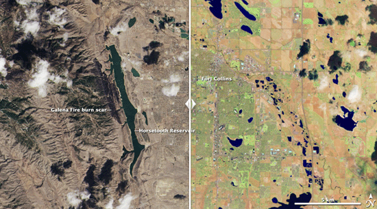 Click and drag the slider bar to compare these LDCM images, which zoom into the area around Fort Collins, Colo. On the left, the image is shown in natural color, created using data from OLI spectral bands 2 (blue), 3 (green), and 4 (red). The image on the right was created using data from OLI bands 3 (green), 5 (near infrared), and 7 (short wave infrared 2) displayed as blue, green and red, respectively. In the left-hand natural color image, the city's elongated Horsetooth Reservoir, a source of drinking water, lies west of the city. A dark wildfire burn scar from the Galena Fire is visible just to the left of the reservoir. The scar shows up bright, rusty red in the false color image.