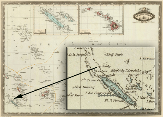 This 1862 map by A.F. Garnier labels Sandy Island as one of the smaller islands immediately to the northwest of New Caledonia.