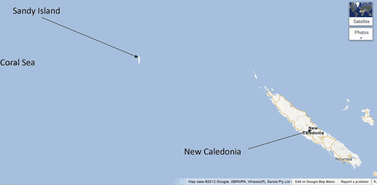 Screenshot showing that as recently as 2012, Google Maps showed the fictitious Sandy Island.